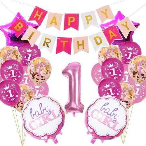 Set primo complenno rosa, palloncini e accessori