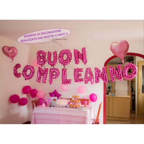 Blue Confetti Addobbi Festa di Compleanno da BambinaScritta Buon Compleanno in Italiano + Pompetta + Palloncini Rosa Bianchi