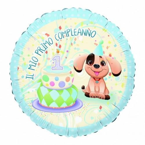 Palloncino tondo primo compleanno cagnolino