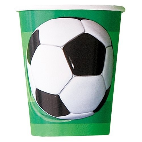 Bicchieri calcio di carta, da 266 ml, per feste, conf. da 8