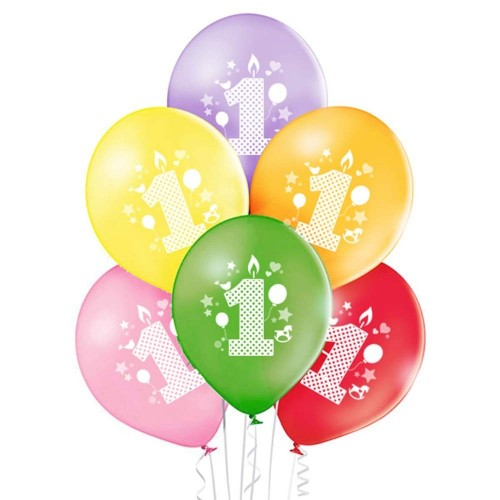 6 palloncini primo compleanno in lattice