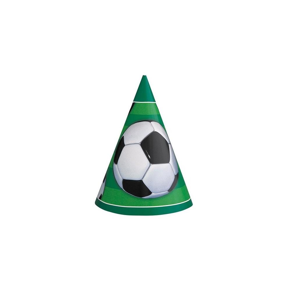 Cappellini calcio, confezione da 8, in cartoncino, forma cono