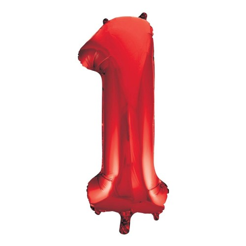 Unique Party 55851 - Palloncino Gigante - Numero 1 - 86cm - Rosso