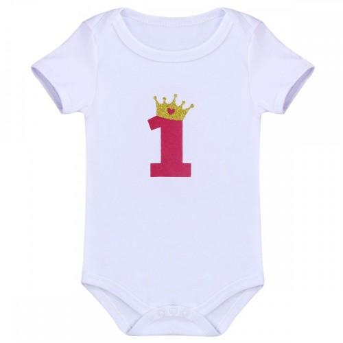 FYMNSI Ragazza Neonata 1 ° Primo Compleanno Abiti Manica Corta Pagliaccetto + Tutu Gonna + Bowknot Fascia 3 Pezzi Bambina Pri