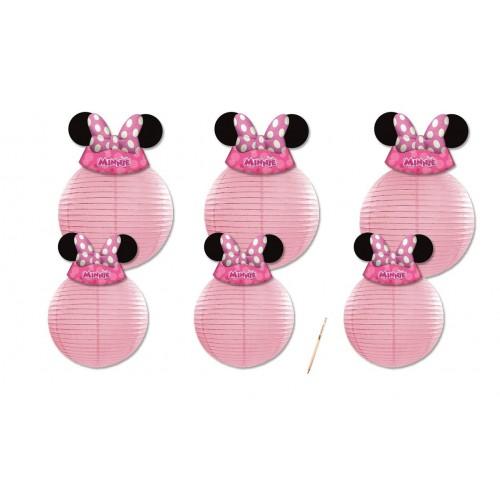6 lanterne rosa con +6 cappellini Minnie Disney