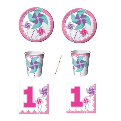 Kit per 16 persone Girandola rosa 1° compleanno