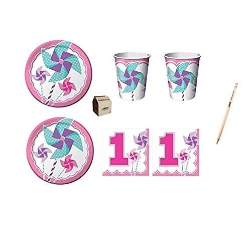 Kit per 80 invitati tema Primo compleanno Girandola rosa