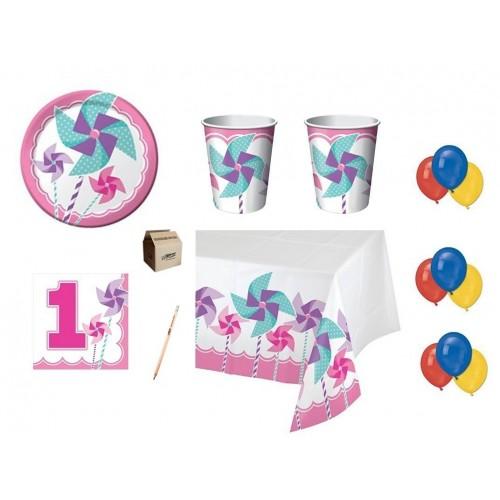 Kit per 64 persone Girandola rosa 1° compleanno