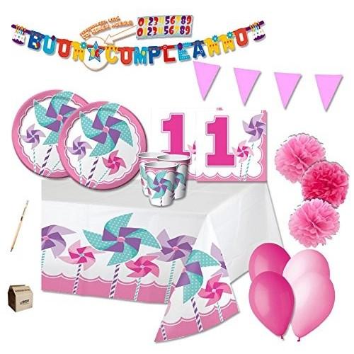Kit per 32 bambini 1° compleanno Girandola rosa
