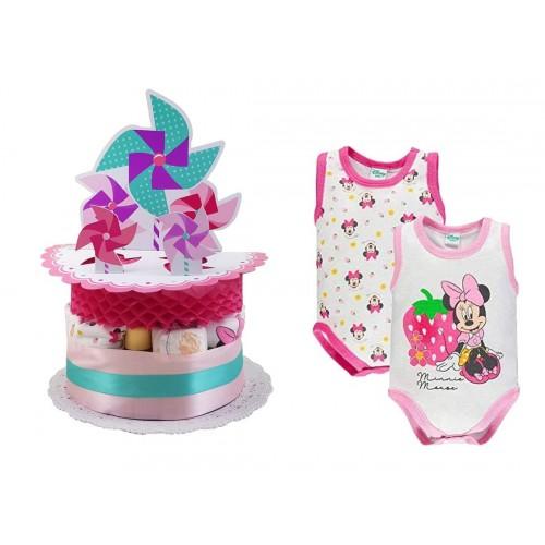 Torta di Pannolini Girandola rosa - baby shower