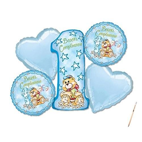 Bouquet Primo compleanno Orsetto celeste