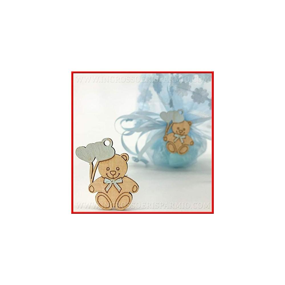 12 Ciondoli a forma di Orsetto in Legno - Bomboniere
