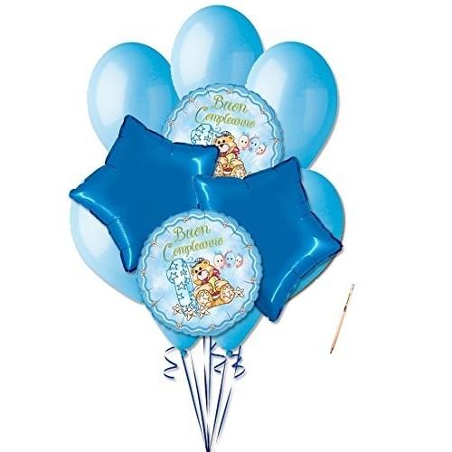 Bouquet 9 palloncini Orsetto Primo compleanno