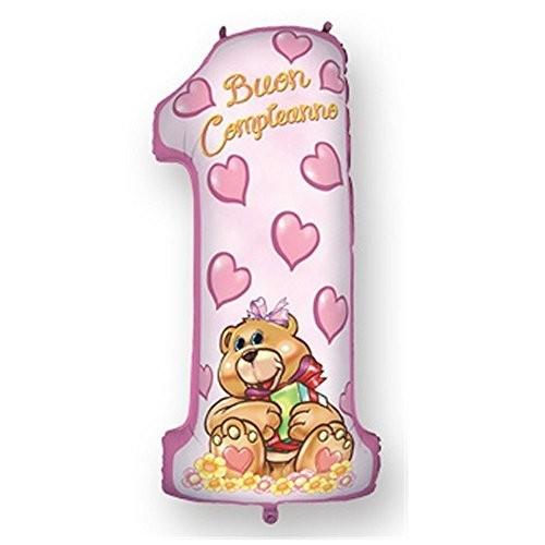 Palloncino numero 1 orsetto rosa