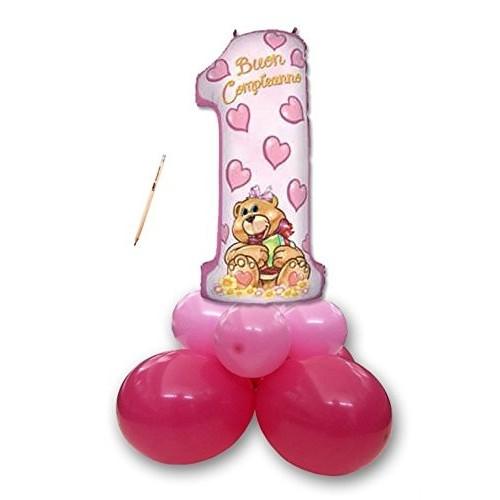 Centrotavola palloncini Primo compleanno orsetta rosa