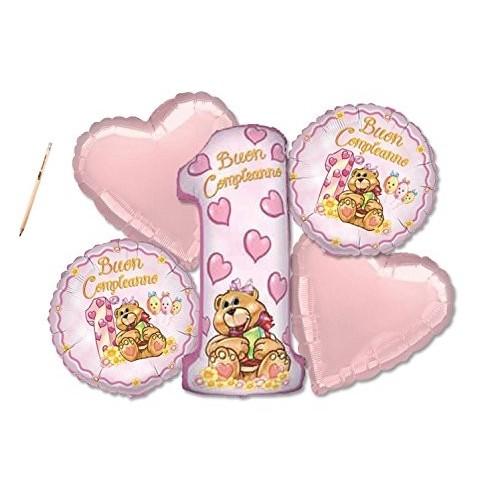 Bouquet di palloncini orsetta rosa 1° compleanno