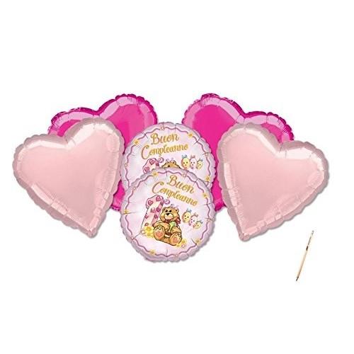 Composizione di palloncini cuore orsetto rosa