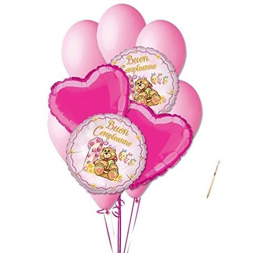 Bouquet 1° compleanno orsetta rosa