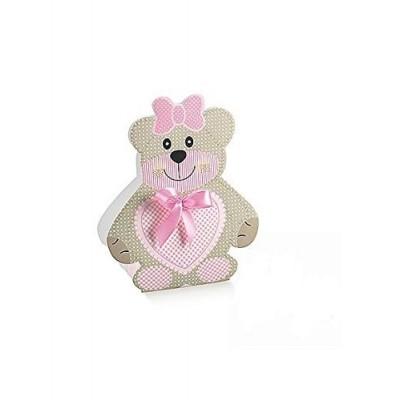 50 scatoline orsetta rosa con fiocco - bomboniere