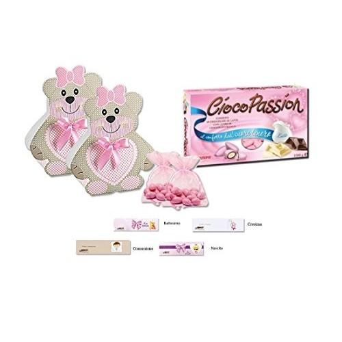 Kit bomboniere orsetto rosa con confetti Crispo