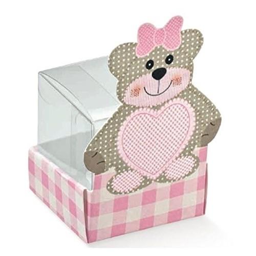 10 Scatole orsetta rosa per bomboniere