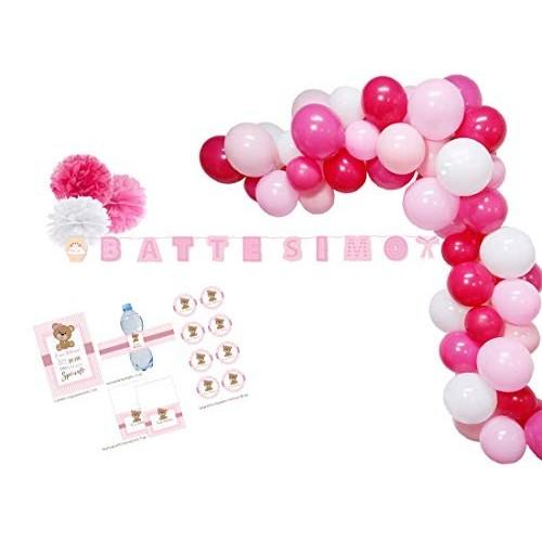 Arco di palloncini rosa e bianchi
