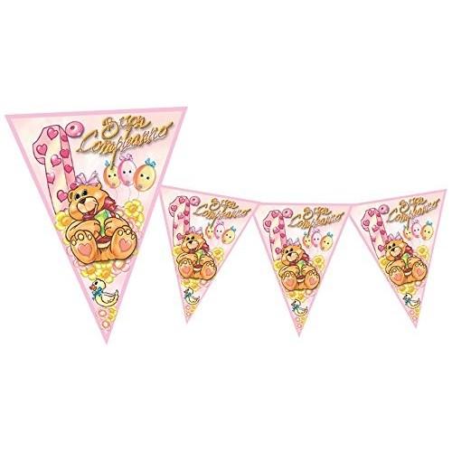 Festone orsetta rosa Primo compleanno