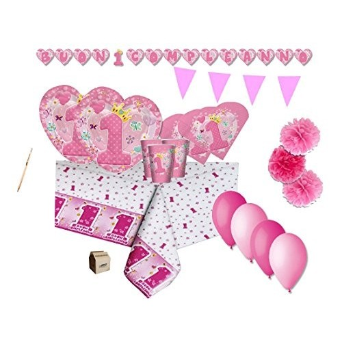 Kit 40 persone Cuore rosa Primo compleanno