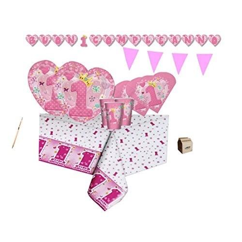 Kit per 50 persone Primo compleanno Cuore rosa