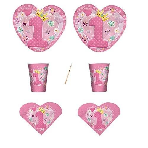 Kit per 20 persone Cuore rosa 1° compleanno