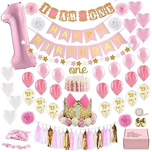 Set 1° compleanno decorazioni rosa