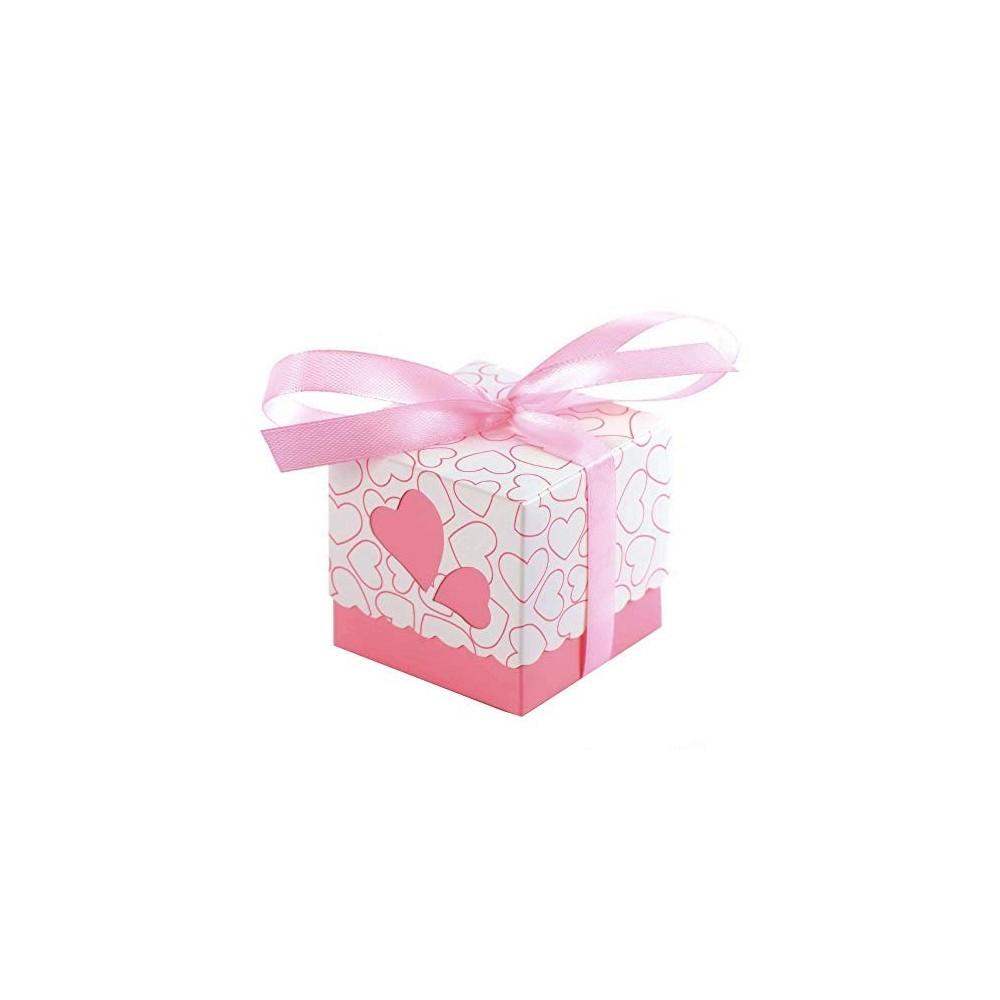 50 portaconfetti bomboniera cuore rosa