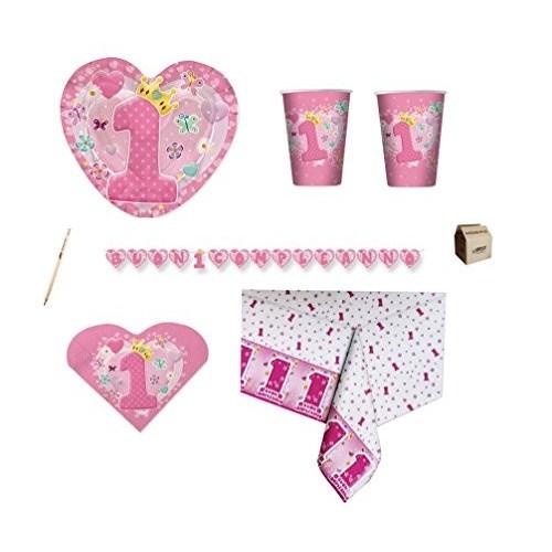 Kit per 30 persone Cuore rosa 1° compleanno