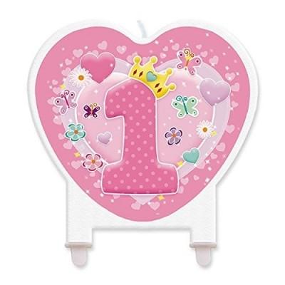 Candelina 1 anno cuore rosa