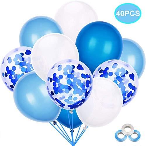 40 palloncini assortiti azzurri con coriandoli