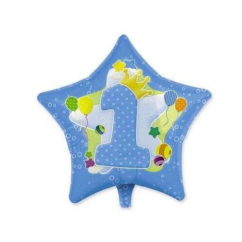 Palloncino stella celeste primo compleanno