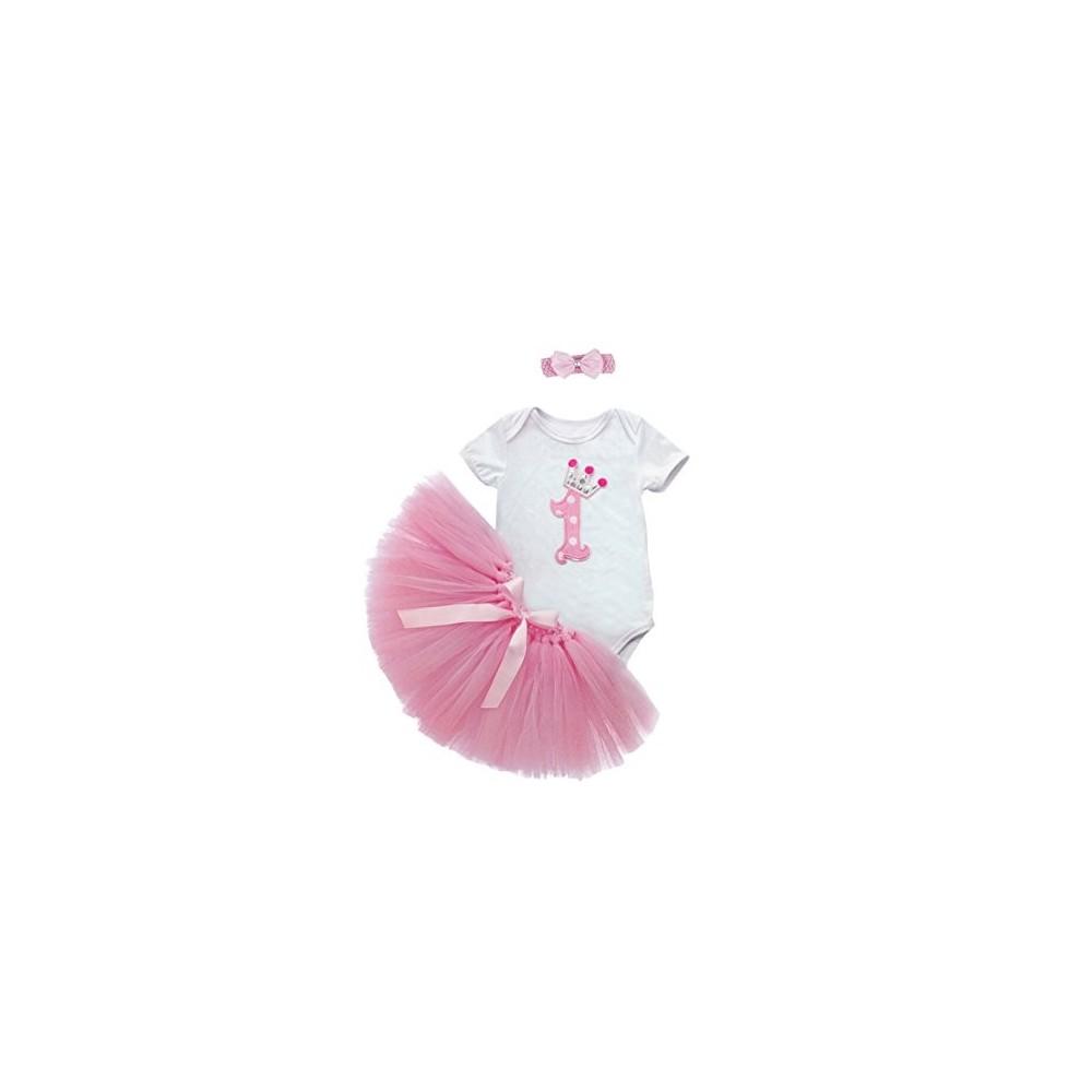 Marlegard® - Set tutù per bambina, 3 pezzi, per primo compleanno, con fascia e gonna a bolla rosa chiaro Mesi 9-12 Mesi