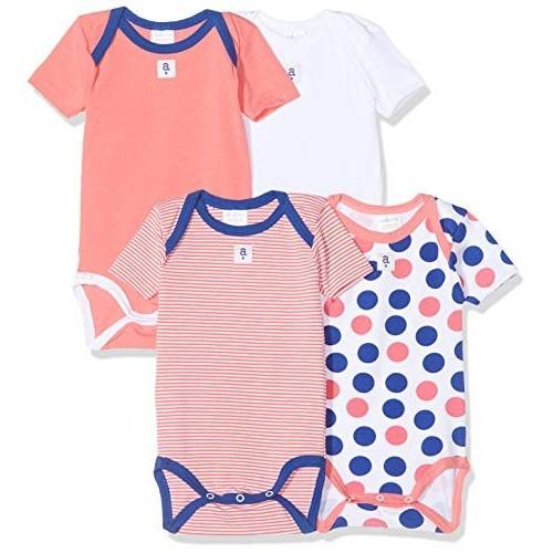 Set 4 body bambino fantasia pois arancione e blu