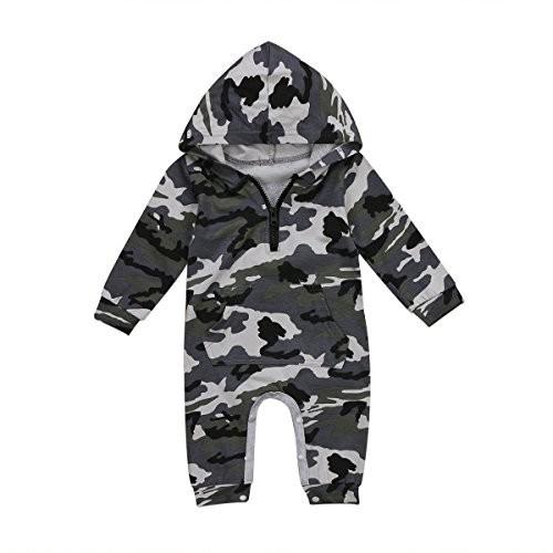 Tutina militare con cappuccio per neonati e bambini