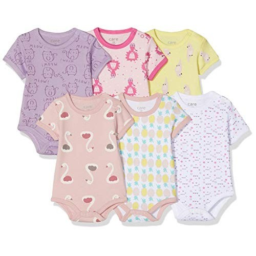 Set 6 body per bambina, colori e grafiche assortite