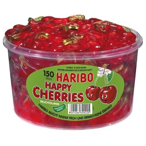Barattolo con 150 Haribo Happy Cherries gusto ciliegia
