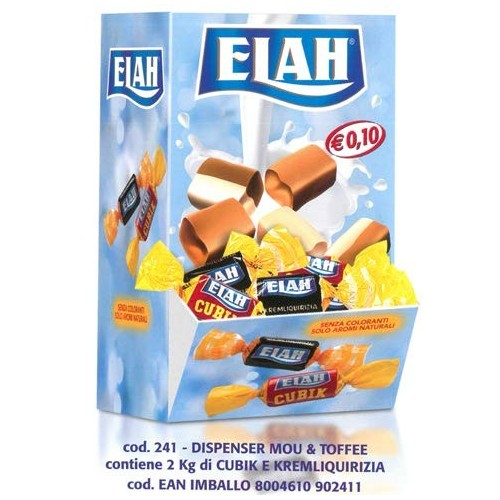 Espositore con caramelle Elah morbide alla liquirizia e latte