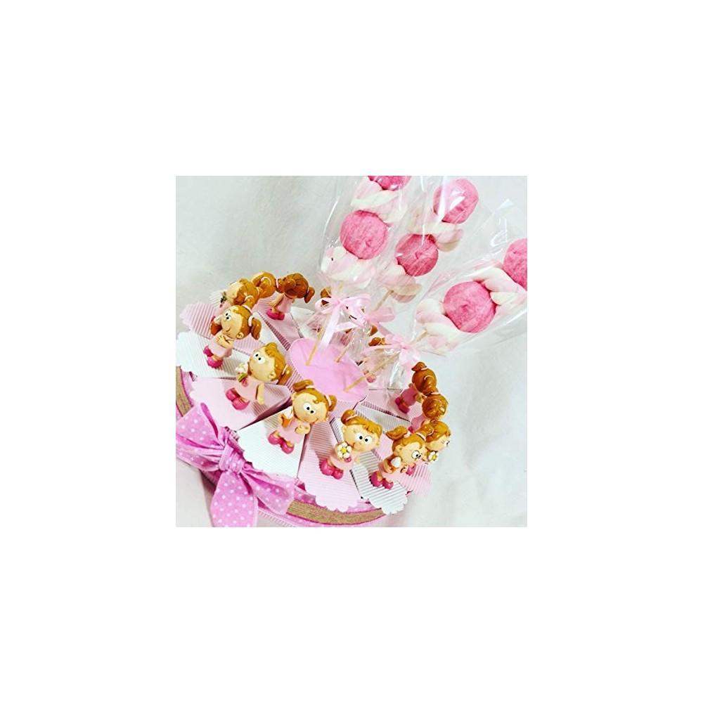 Torta con spiedini di marshmallow rosa, bomboniera