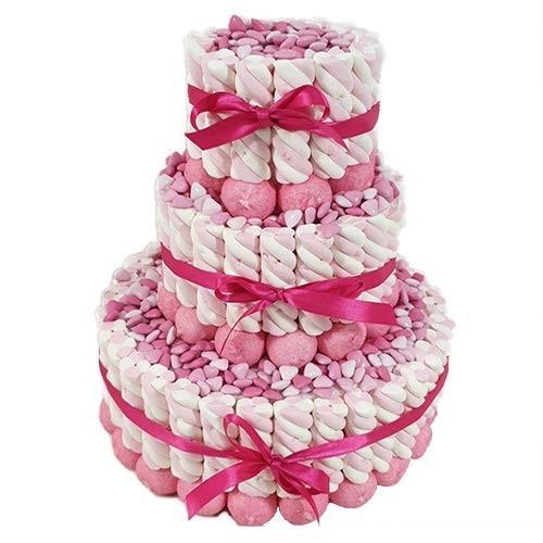 Torta marshmallow trecce bianco/rosa e confetti cuoricini