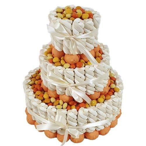 Torta di marshmallow trecce bianco/panna e confetti sfumati nibble