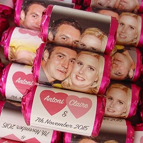 100 mini caramelle con foto personalizzabili a forma di cuore