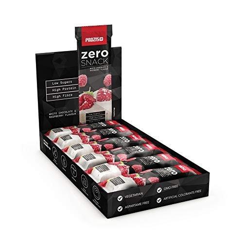 12 Snak al cioccolato bianco con lamponi- Prozis Zero Snack, 35 g,