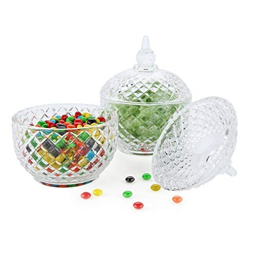Set di 2 Barattoli porta caramelle in vetro