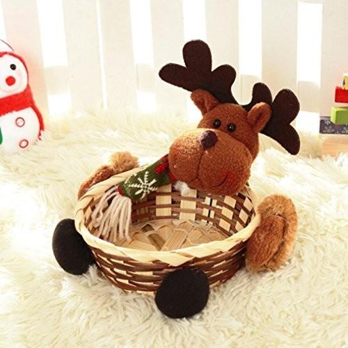 Cesto con renna per caramelle e dolci