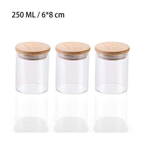 3 Barattoli di vetro con coperchio in Bambù per caramellate